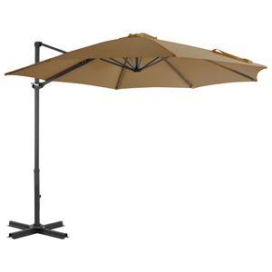 Sonnenschirm 300 cm mit Aluminium-Mast,ampelschirm mit Kippbar und um 360°drehbares Design-Taupe