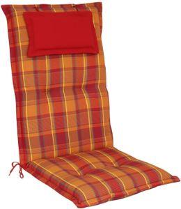elGiga Hochlehner-Auflage Classic Rot Orange kariert 120 x 50 x 8 cm für Gartenstuhl, mit Kopfpolster, hochwertig, waschbar und pflegeleicht