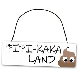 Hochwertiges Schild 25 x 8 cm Pipi Kaka Land weiß Dekoschild Wandschild Toilettenschild Toilette WC Gäste Klo