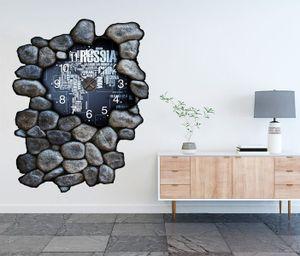 3D Wandtattoo inkl. Uhr 97x120cm Weltkarte modern Karte Globus Erde Text Schift White    Aufkleber Wand Sticker Wanduhr Tattoo Wanddurchbruch T0120, Farbe der Uhr:Farbe der Uhr Silber