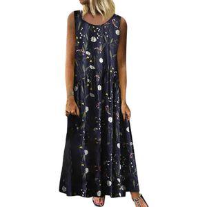Frauen Plus Size Bohemian O-Ausschnitt Blumendruck Vintage ärmelloses langes Maxikleid Größe:XXXXL,Farbe:Schwarz