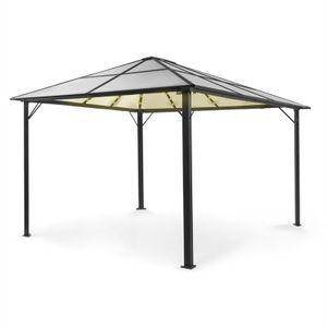 blumfeldt Pantheon Solid Sky Ambient Solar Pavillon ,überdachte Fläche: 3 x4 m ,Aluminiumkantrohr ,7,6 x 7,6 cm Eckpfosten mit 1,2 mm Materialdicke ,Dach: 6mm Polycarbonat-Doppelstegplatten ,beleuchtet ,rostfrei ,ohne Seitenwände ,transparentes Dach