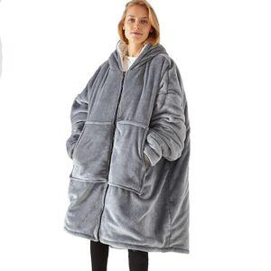 VOKARALA Hoodie Sweatshirt Decke mit Kapuze Reißverschluss Riesen Hoodie Fronttasche Übergroße Kapuzenpullover für Männer Frauen,Einheitsgröße