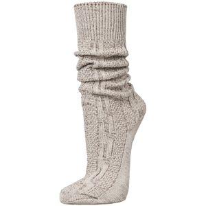 PAULGOS Unisex Trachtensocken Trachtenstrümpfe Socken Kniestrümpfe mit Zopfmuster in 3 Farben Gr. 39-47, Farbe:Beige, Größe:44
