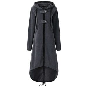 Damenmode Kapuzenjacke Langarm Langer fester Mantel Mit Tasche Größe:XXL,Farbe:Grau