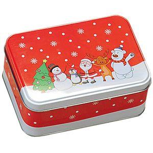 Keksdose, rot mit Weihnachtsmotiv, KESPER