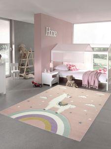 Kinderteppich Lama Spielteppich Lama Einhorn Teppich Regenbogen Wolken in Rosa Größe - 80x150 cm