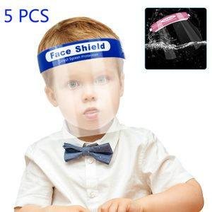 Kinder Gesichtsschutz Visier, 5 Stk. Universales Anti-Fog Anti-Speichel Vollgesichtsvisier Gesichtsschild mit elastischem Gummiband (Transparent+Blau)