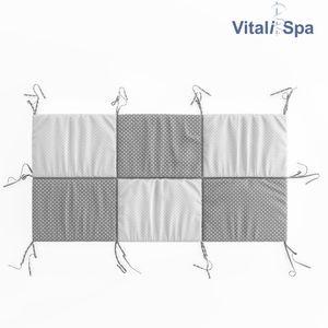 VitaliSpa Hausbett Kinderbett Bettrückwand Wiki 140x70 Grau-Weiß