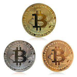 3 Stück / Set Bitcoin-Münze Gedenkmünzen Gold Silber Bronze Münze Geschenk