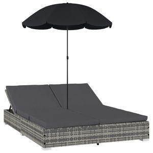 Huicheng Polyrattan Doppelliege Sonnenliege Loungebett mit Sonnenschirm, Verstellbare Rückenlehne, Kissen Grau