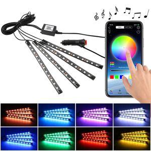 Auto RGB LED  4pcs 48LED Fußatmosphärenleuchten APP-Steuerung,Kfz-LED-Dekorationsleuchten,Auto-Atmosphärenlicht ,Streifen Licht Neonleuchtleisten Mit App