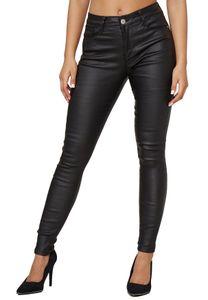 Damen Leder Optik Coated Denim Jeans Skinny Treggings Biker Stretch Hose Push Up Hüfthose Big Size, Farben:Schwarz, Größe:44