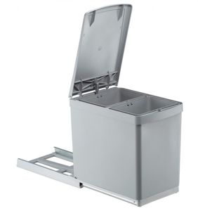 Wesco Mülleimer Küche, Einbau ab 30 cm Schrank, 2-fach Mülltrennung