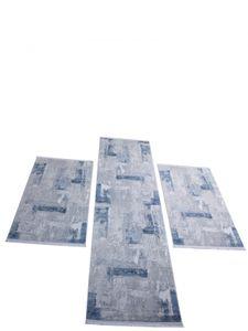 Fez Teppich Set Grau Blau Orientialisch Bettumrandung 3 - tlg