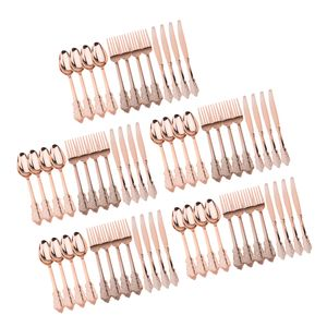 60 Stück Einweg-Plastikgabeln Löffel Messer Partydekorationen Roségold 17,5-20 cm Rose Golden Party Gabeln