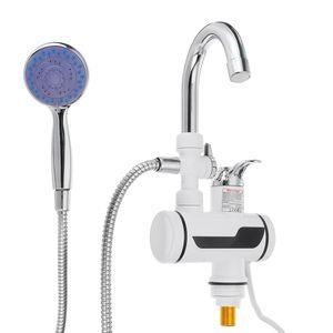 3000W Elektrischer Wasserhahn Durchlauferhitzer Warmwasserbereiter LED Display (Mit Duschkopf)