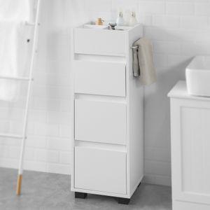 SoBuy BZR29-W Badezimmerschrank Badschrank Badregal Badkommode mit 3 Schubladen und 4 Fächern Kommode fürs Bad Midischrank mit Handtuchhalter Weiß