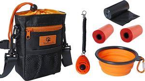 HelpAccess® 6er Set Hunde Futterbeutel, Umhänge-, Hüfte-, und Bauchtasche inkl. Silikon faltbar Napf, Hund Klicker und 2 Kotbeutel Rolle.