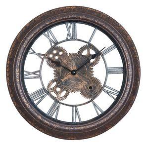Wanduhr 30x30cm Zahnrad Schwarz Kupfer Shabby Chic Vintage Uhr Deko Industrial
