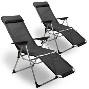 Liegestuhl Relax 2er Set in Anthrazit - Relaxstuhl aus Aluminium - stabile Gartenliege mit integriertem Kissen und klappbarer Fußstütze