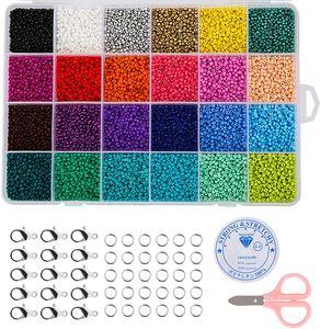 24000 Stück Rocailles Glasperlen Rund 24 Farben Perlen zum Basteln, 2 mm