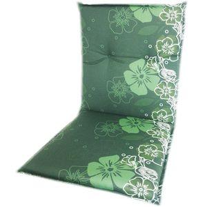 Gartenstuhl-Auflage Barcelona – Niedriglehnerauflage für Gartenstühle, Dessin:Green Flower, Anzahl:6er Set