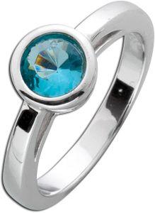 Solitär Ring blau Silber 925 Blautopas Verlobungsring steckring Zirkonia Sterling 19