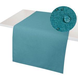 Leinenoptik Tischläufer GERADE 40x100 PETROL Lotuseffekt