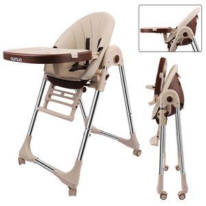 OUNUO Baby Hochstuhl Vertehllbar und Klappbar Kinderhochstuhl mitwachsend Kindersitz Kinderstuhl mit Sicherheitsgurt 6 Monaten bis 6 Jahre Kunstleder Kissen Beige