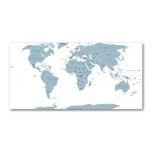Tulup® Leinwandbild - 120x60 cm - Wandkunst - Drucke auf Leinwand - Leinwanddruck - Landkarten & Flaggen - Grau - Politische Karte