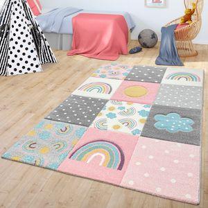 Kinderzimmer Teppich Kinderteppich Mit Regenbogen Wolken Muster Grau Rosa Creme, Größe:120x170 cm