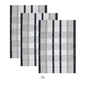 5er Set Baumwoll Geschirrtücher 50x70 cm Schwarz Kariert