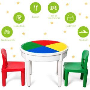GOPLUS 3-in-1 Multifunktionaler Spieltisch Set, Bautisch mit 300 Bausteine, Esstisch mit 2 Stühlen, Wassertisch, Sandtisch, mit Bauplatte, Kompatibel für andere kleine Bausteine