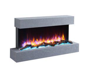 RICHEN Elektrokamin Ignis Wandkamin Elektrischer Kamin (2000W, LED-Beleuchtung, 3-D Flammeneffekt, Fernbedienung) Grau