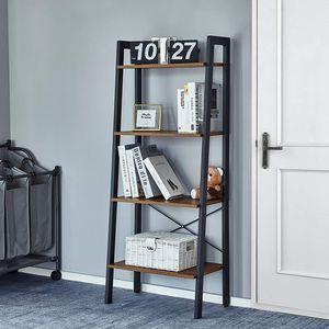 Meerveil Bücherregale,Standregal, Leiterregal,Eckregal mit 4 Ebenen, vintagebraun-schwarz
