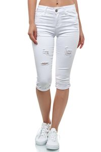 Damen Kurze Capri Jeans Shorts leichte Bermuda Sommer Design Hose , Farben:Weiß, Größe:40