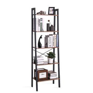 VASAGLE Bücherregal mit 5 Ablagen und Metallrahmen 172 x 56 x 34 cm einfache Montage Vintage LLS45X