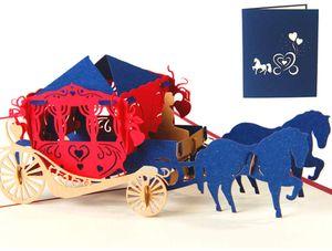 Hochzeitskarte,Geburtstagskarte für Liebhaber, 3D Pop-Up-Grußkarte mit schönen Paper-Cut, beste Geschenk für Hochzeit oder Jubiläum des Liebhabers, Umschlag enthalten (Hochzeitswagen), 16cmx13cm