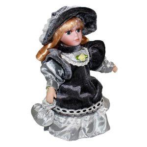 Porzellanpuppe 8 \'\' Stehend Mit Kleid Victoria Style Puppen Für Kinder Mädchen Spielzeug Stil Grau