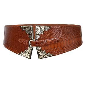 Elastischer dehnbarer, weit geschnittener Damengürtel Mode Kleid Bund Braun Farbe Braun
