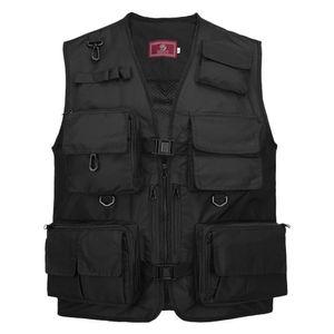 Anglerwesten,Angeln Fotografie Weste Sommer Multi Pockets Mesh Jacken Quick Dry Weste,Black,XXXL