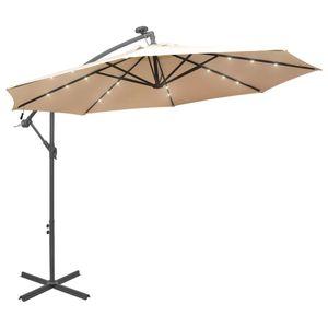 Sonnenschirm 300 cm mit  LED,Ampelschirm mit Entlüftungsöffnung und Kurbelmechanismus - Beige