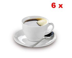 Esmeyer 6er Set Kaffee-Tassen 0,20 ltr. mit Untertassen aus weißem schweren Porzellan Form BISTRO, 433-255