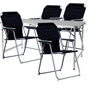 5-teiliges Campingmöbel Set Alu 120x60x58/70cm schwarz