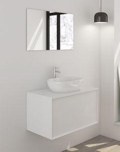 SalesFever Badezimmer Set 80 cm | 2-tlg. | inkl. Aufsatz-Waschschale | B 274 x T 48 x H 50 cm | weiß glänzend
