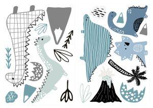 dekodino® Wandtattoo Pastell Dinosaurier Set mit Mustern Wanddekoration