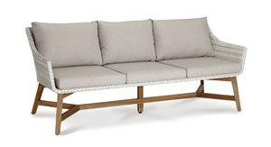 Best Gartensofa Lounge-Couch Paterna 3-Sitzer  Teakholz/alabaster; 41392504