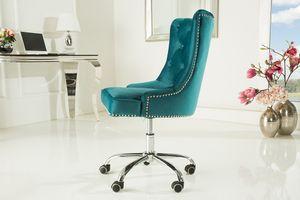 Design Bürostuhl VICTORIAN Samt türkis mit Armlehne Stuhl höhenverstellbar mit Leichtlaufrollen Bürostuhl Drehstuhl Chefsessel