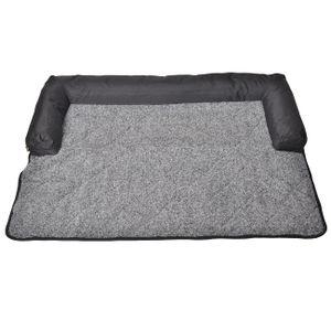 Hundebett Plüsch Grau Melange 85*90 cm Waschbares Hundedecke Rutschfest Hunde Bett für Sofaschutz Tier